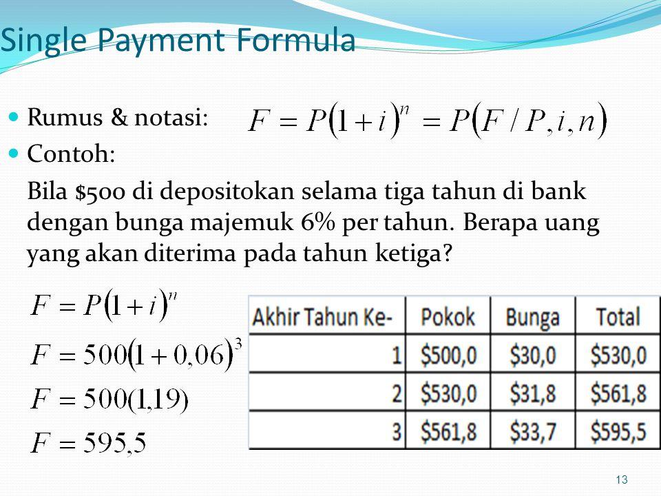 13 Single Payment Formula Rumus & notasi: Contoh: Bila $500 di depositokan selama tiga tahun di bank dengan bunga majemuk 6% per tahun. Berapa uang ya