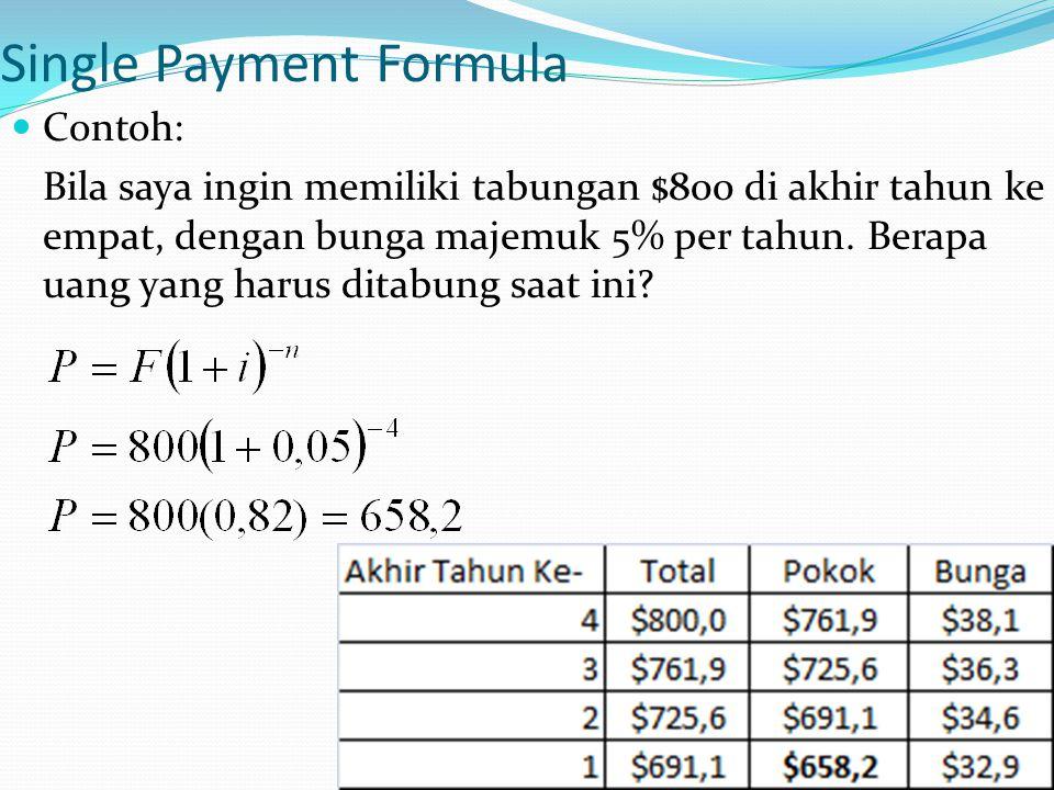 14 Single Payment Formula Contoh: Bila saya ingin memiliki tabungan $800 di akhir tahun ke empat, dengan bunga majemuk 5% per tahun. Berapa uang yang