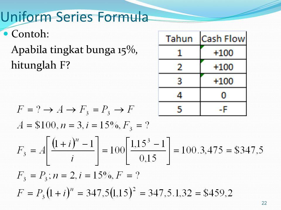 22 Uniform Series Formula Contoh: Apabila tingkat bunga 15%, hitunglah F?