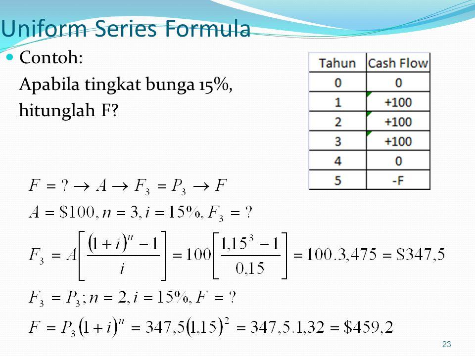 23 Uniform Series Formula Contoh: Apabila tingkat bunga 15%, hitunglah F?