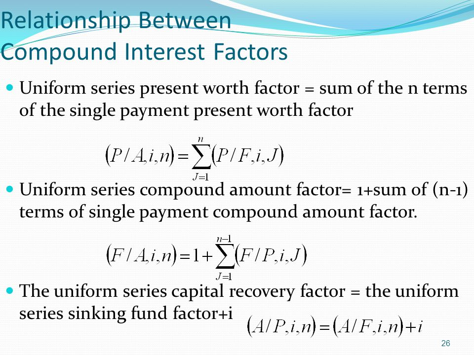 26 Relationship Between Compound Interest Factors Uniform series present worth factor = sum of the n terms of the single payment present worth factor