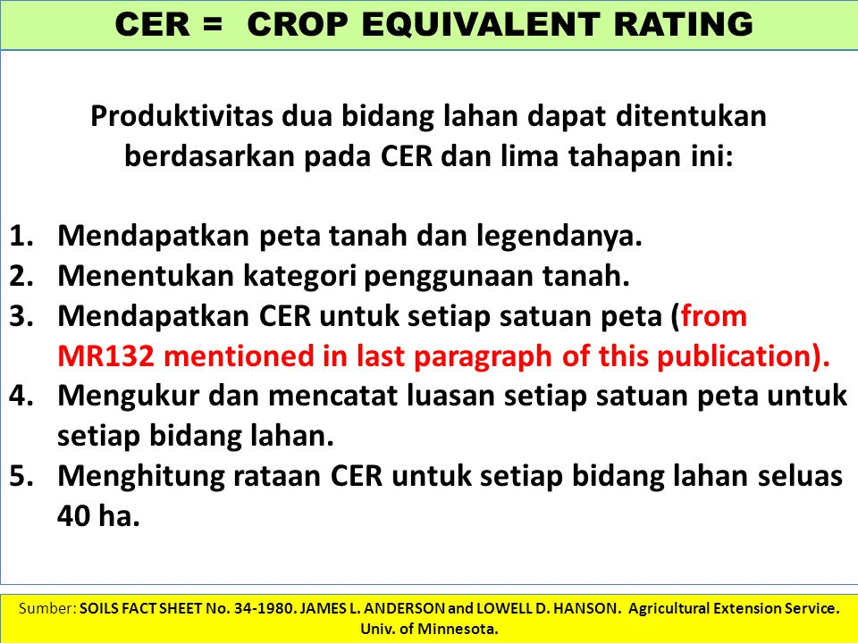 CER = CROP EQUIVALENT RATING Sumber: SOILS FACT SHEET No.