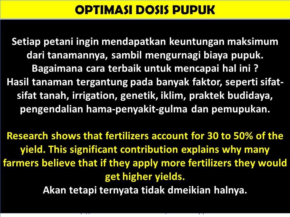 OPTIMASI DOSIS PUPUK Sumber: http://www.smart-fertilizer.com/fertilizer-application-rates Setiap petani ingin mendapatkan keuntungan maksimum dari tan