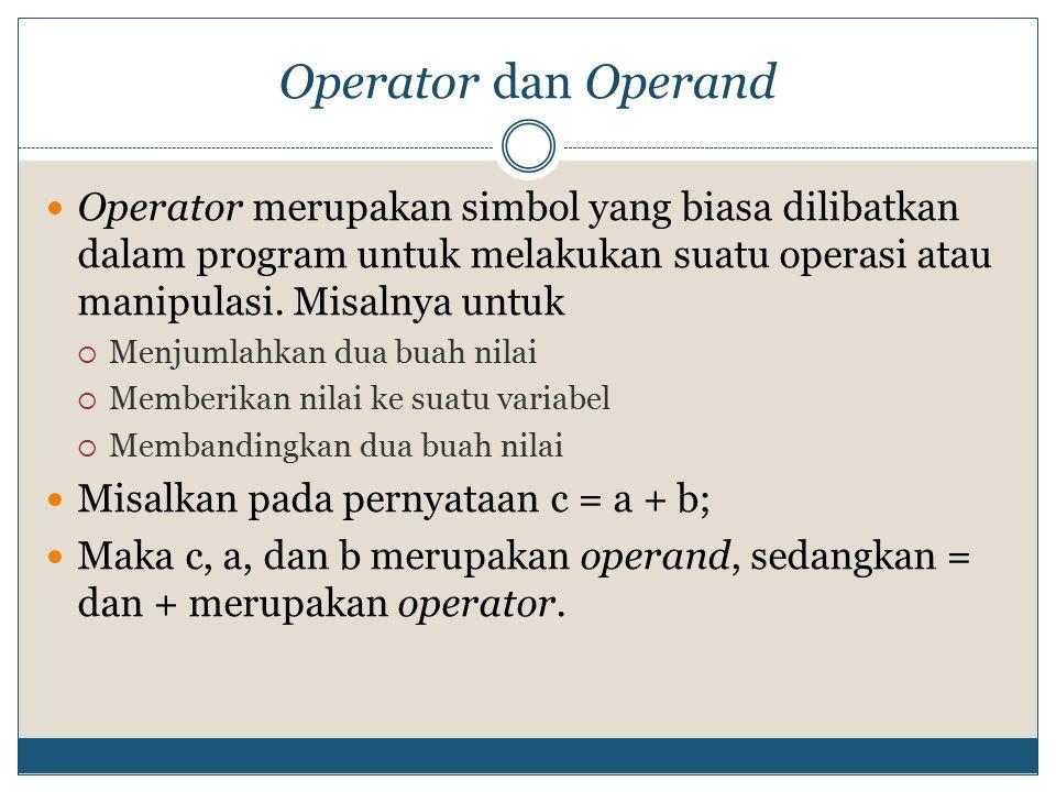 operator pembanding Operator pembanding (hasil: true atau false) Comparison operators/Relational operators To be continued OperatorKeteranganContohHasil ==Sama dengana == bFALSE !=Tidak sama dengana != bTRUE >Lebih besar daria > bFALSE <Lebih kecil daria < bTRUE >=Lebih besar atau sama dengana >= bFALSE <=Lebih kecil atau sama dengana <= bTRUE