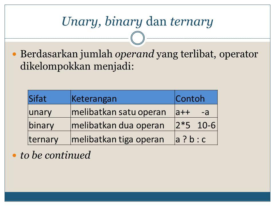 Operator penugasan Operator penugasan / assignment, yaitu ' = ' Operator penugasan sederhana, menugaskan / menyalin nilai dari operand di sebelah kanan ke operand di sebelah kiri.