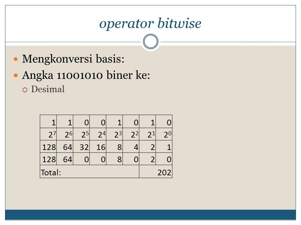 operator bitwise Mengkonversi basis: Angka 11001010 biner ke:  Desimal 11001010 2727 2626 2525 2424 23232 2121 2020 1286432168421 12864008020 Total: 202
