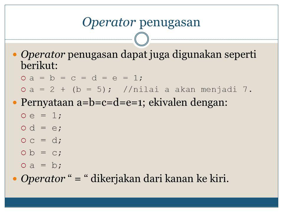 Prioritas operator Jika dalam satu baris yang sama terdapat banyak operator, maka prioritasnya: OperatorUrutan pengerjaan ++ --  .