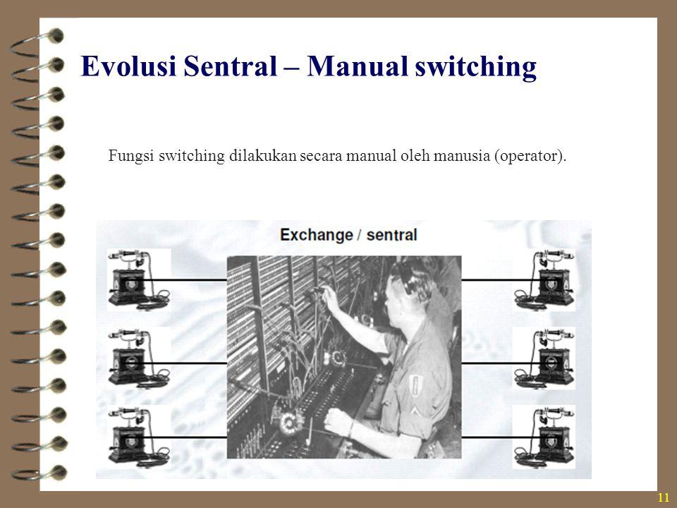 Evolusi Sentral – Manual switching Fungsi switching dilakukan secara manual oleh manusia (operator). 11