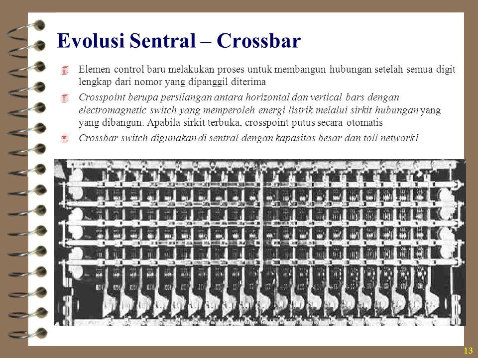 Evolusi Sentral – Crossbar  Elemen control baru melakukan proses untuk membangun hubungan setelah semua digit lengkap dari nomor yang dipanggil diter