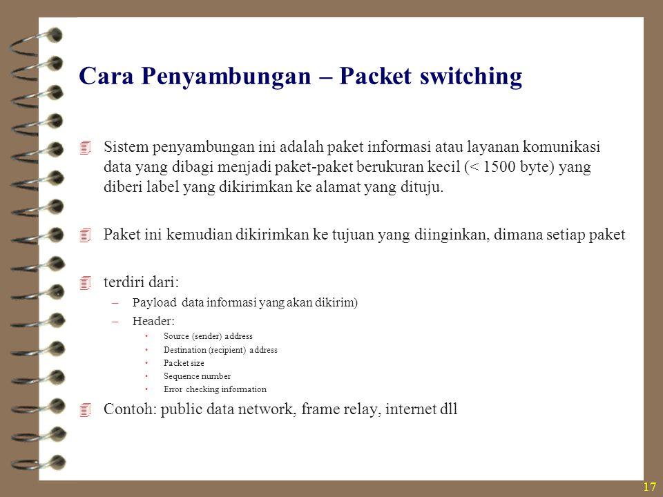 Cara Penyambungan – Packet switching  Sistem penyambungan ini adalah paket informasi atau layanan komunikasi data yang dibagi menjadi paket-paket ber
