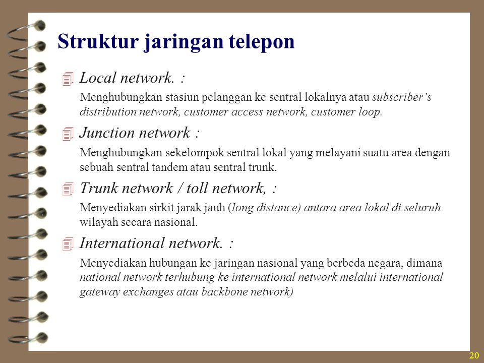 Struktur jaringan telepon  Local network. : Menghubungkan stasiun pelanggan ke sentral lokalnya atau subscriber's distribution network, customer acce