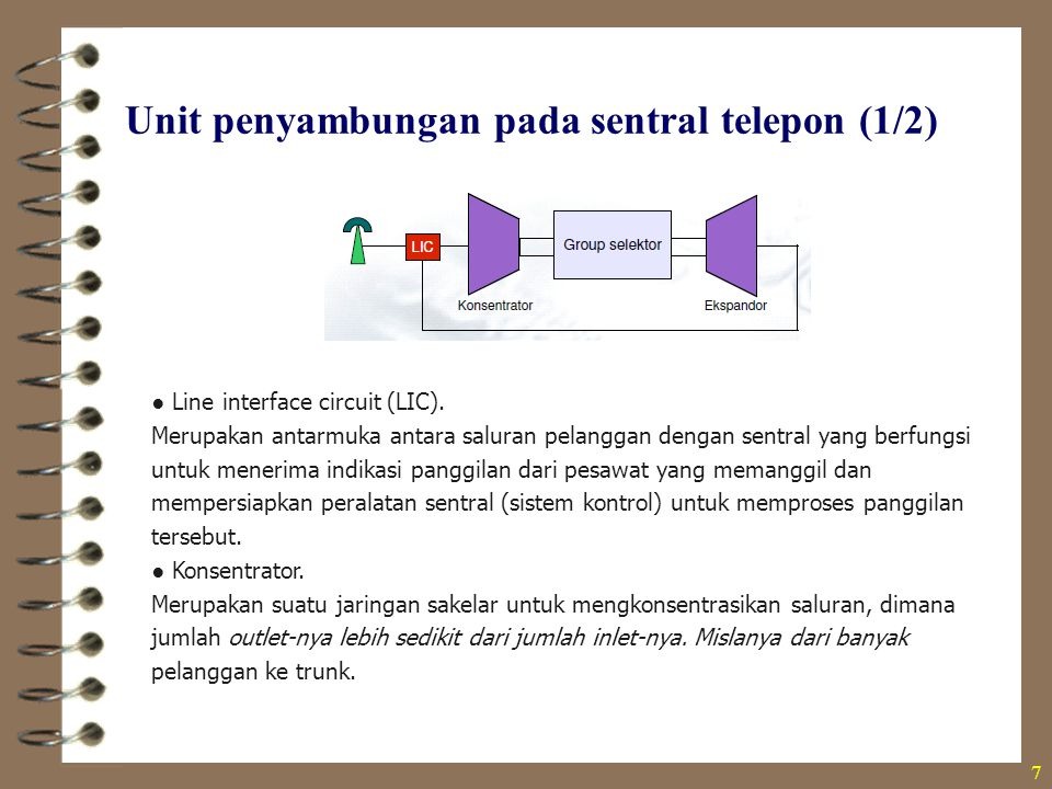 Unit penyambungan pada sentral telepon (2/2) 8  Grup selektor Merupakan jaringan saklar yang jumlah inlet dan outletnya sama banyak, dimana fungsinya untuk membuat jalur routing bagi sebuah panggilan yang datang lewat inlet dan diteruskan pada outlet yang dituju dan sesuai berdasarkan informasi dari nomor yang di-dial.