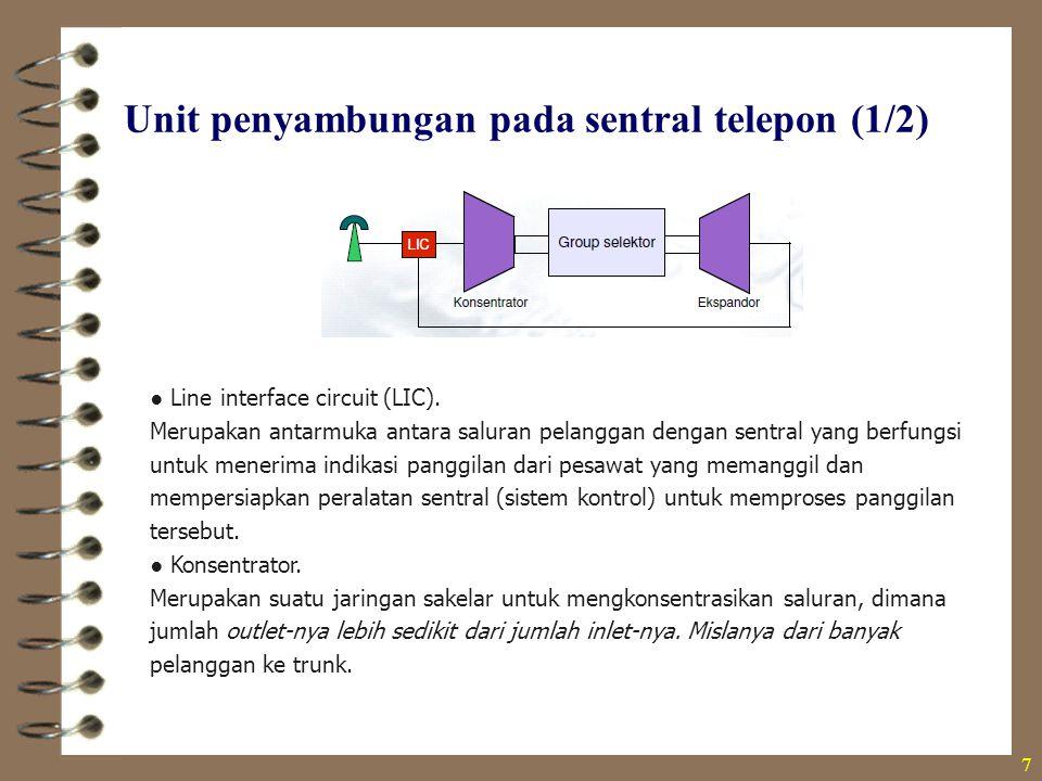 Unit penyambungan pada sentral telepon (1/2) 7 ● Line interface circuit (LIC). Merupakan antarmuka antara saluran pelanggan dengan sentral yang berfun