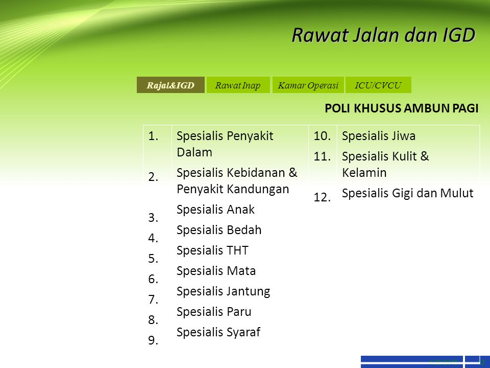 4/20/201512 Rawat Jalan dan IGD POLI KHUSUS AMBUN PAGI Rajal&IGDRawat InapKamar OperasiICU/CVCU 1. 2. 3. 4. 5. 6. 7. 8. 9. Spesialis Penyakit Dalam Sp