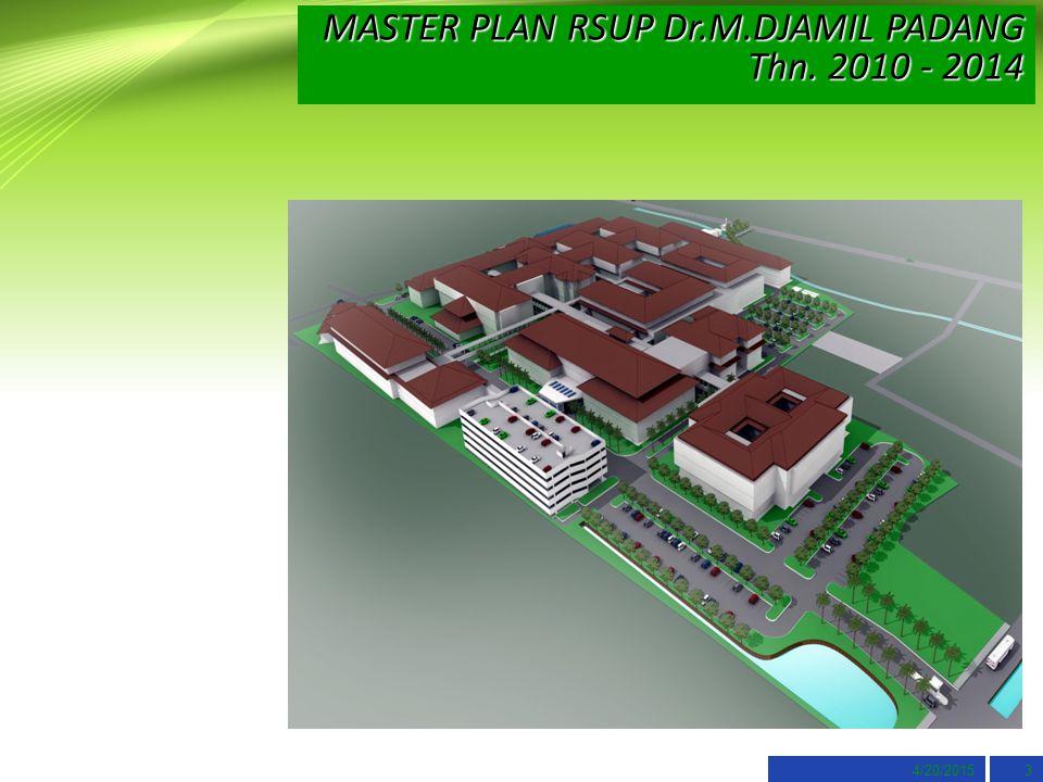 4/20/20153 MASTER PLAN RSUP Dr.M.DJAMIL PADANG Thn. 2010 - 2014