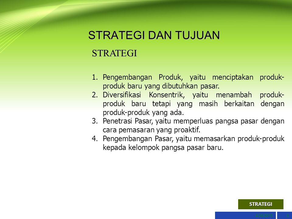 4/20/20156 STRATEGI DAN TUJUAN STRATEGI 1.Pengembangan Produk, yaitu menciptakan produk- produk baru yang dibutuhkan pasar.Pengembangan Produk, yaitu menciptakan produk- produk baru yang dibutuhkan pasar.