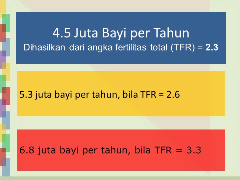4.5 Juta Bayi per Tahun Dihasilkan dari angka fertilitas total (TFR) = 2.3 5.3 juta bayi per tahun, bila TFR = 2.6 6.8 juta bayi per tahun, bila TFR =