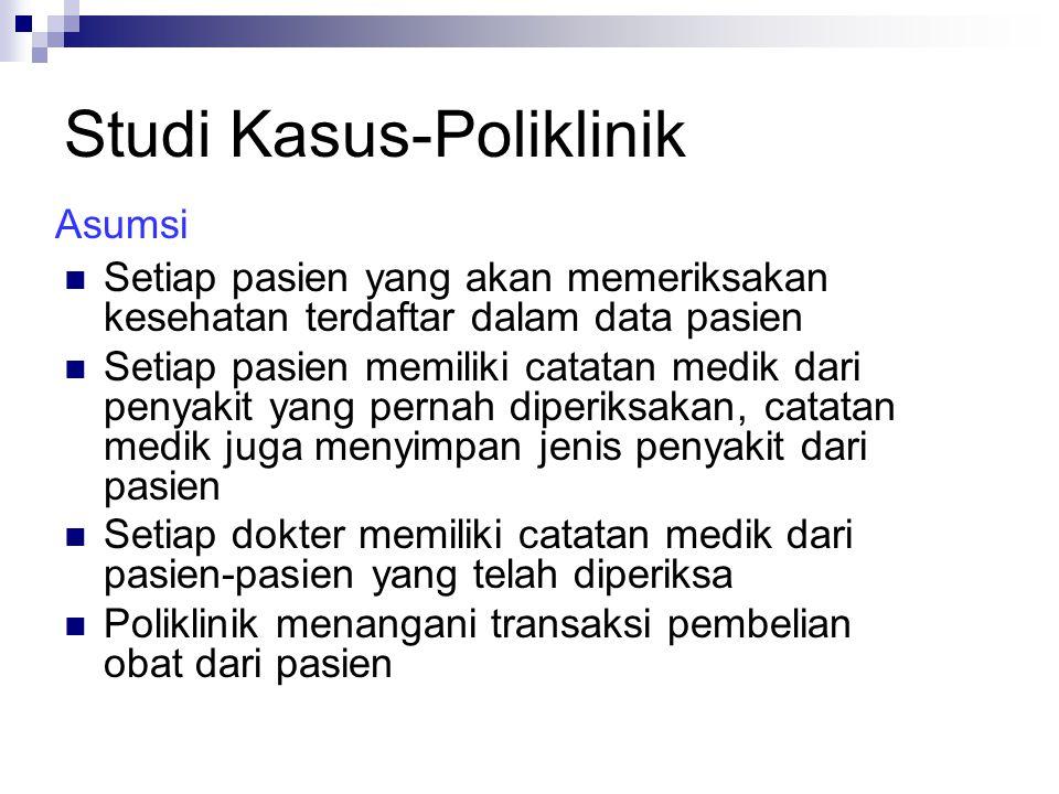 Studi Kasus-Poliklinik Entitas: Pasien Dokter Catatan_medik Penyakit Detail_penyakit Transaksi Obat