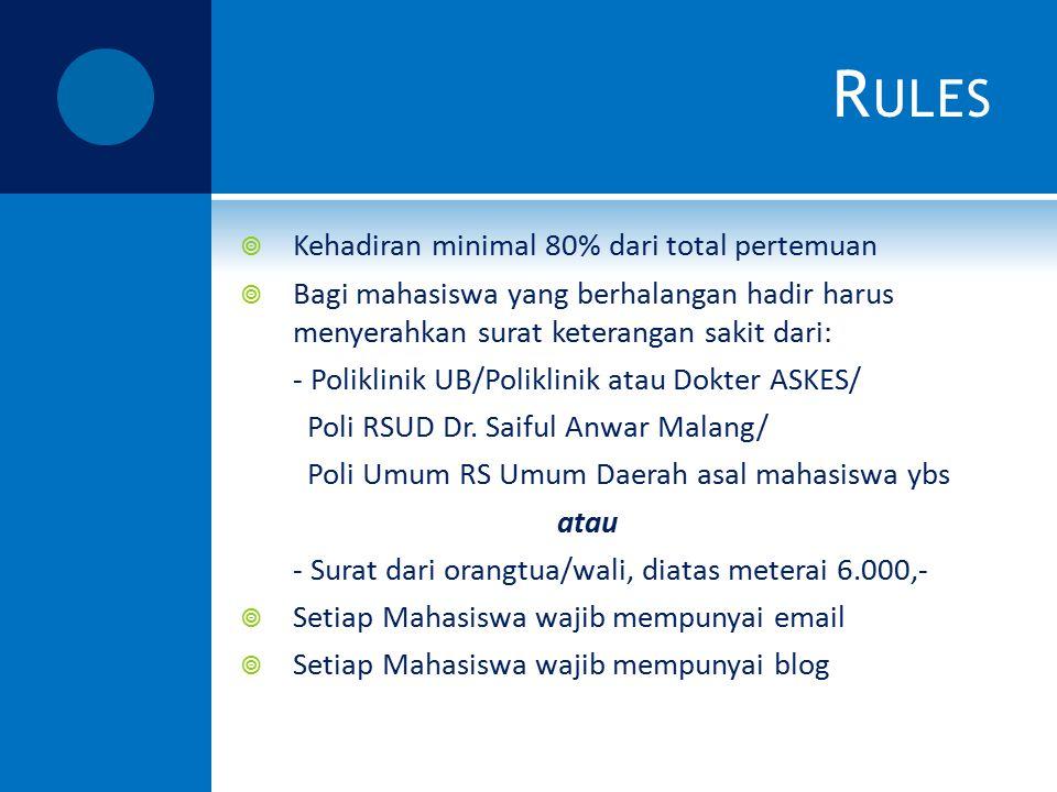 R ULES  Kehadiran minimal 80% dari total pertemuan  Bagi mahasiswa yang berhalangan hadir harus menyerahkan surat keterangan sakit dari: - Poliklini