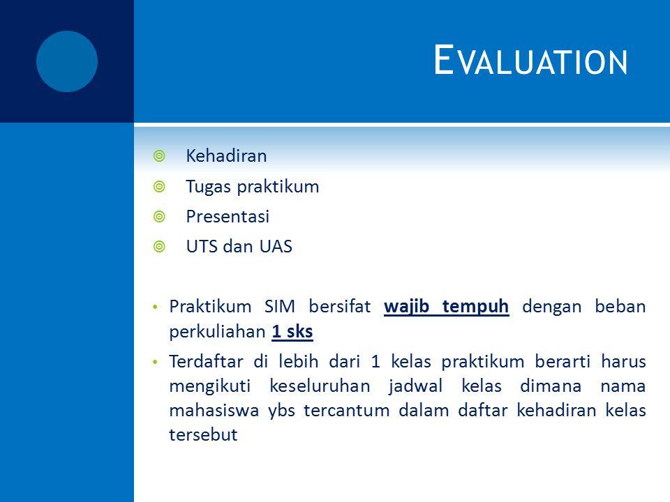 E VALUATION  Kehadiran  Tugas praktikum  Presentasi  UTS dan UAS Praktikum SIM bersifat wajib tempuh dengan beban perkuliahan 1 sks Terdaftar di l