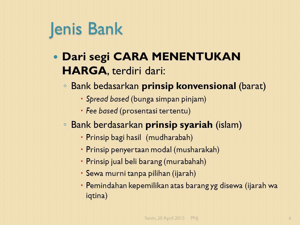 Jenis Bank Dari segi CARA MENENTUKAN HARGA, terdiri dari: ◦ Bank bedasarkan prinsip konvensional (barat)  Spread based (bunga simpan pinjam)  Fee ba