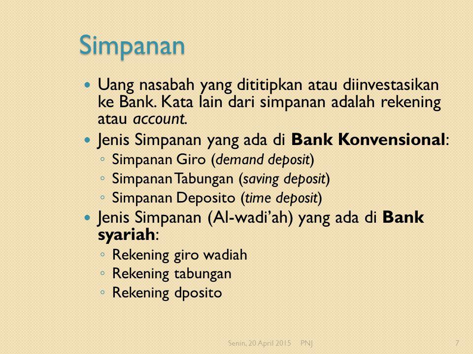 Simpanan Uang nasabah yang dititipkan atau diinvestasikan ke Bank. Kata lain dari simpanan adalah rekening atau account. Jenis Simpanan yang ada di Ba