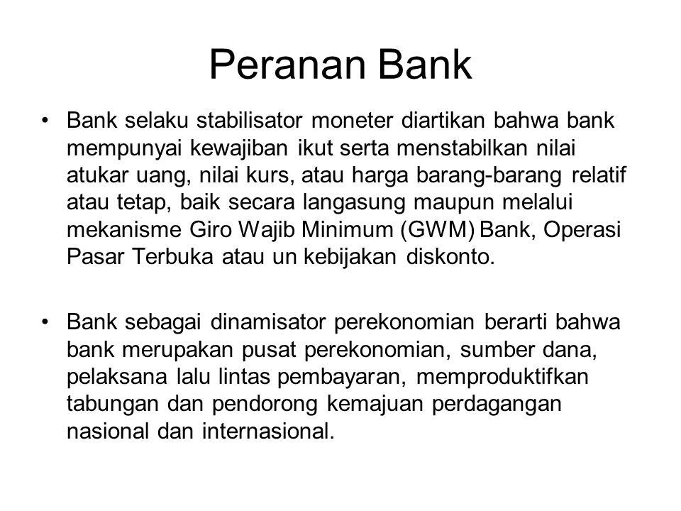 Peranan Bank Bank selaku pelaksana lalu lintas pembayaran (LLP) berarti bank menjadi pelaksana penyelesaian pembayaran transaksi komersial atau financ
