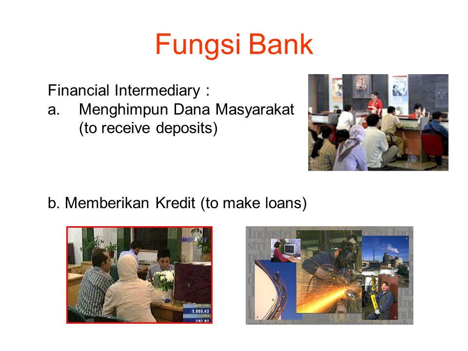 Fungsi Bank Financial Intermediary : a.Menghimpun Dana Masyarakat (to receive deposits) b.