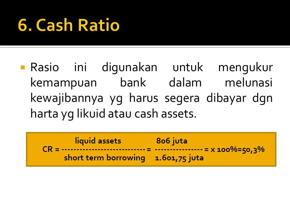  Rasio ini digunakan untuk mengukur kemampuan bank dalam melunasi kewajibannya yg harus segera dibayar dgn harta yg likuid atau cash assets.  liquid