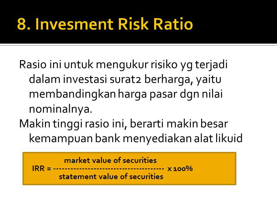 Rasio ini untuk mengukur risiko yg terjadi dalam investasi surat2 berharga, yaitu membandingkan harga pasar dgn nilai nominalnya. Makin tinggi rasio i