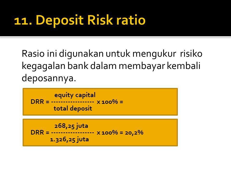 Rasio ini digunakan untuk mengukur risiko kegagalan bank dalam membayar kembali deposannya.  equity capital  DRR = ------------------ x 100% =  tot