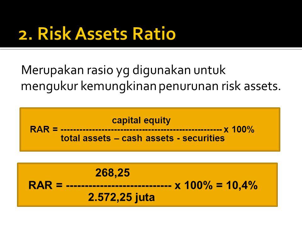 Merupakan rasio yg digunakan untuk mengukur kemungkinan penurunan risk assets.  capital equity  RAR = ----------------------------------------------