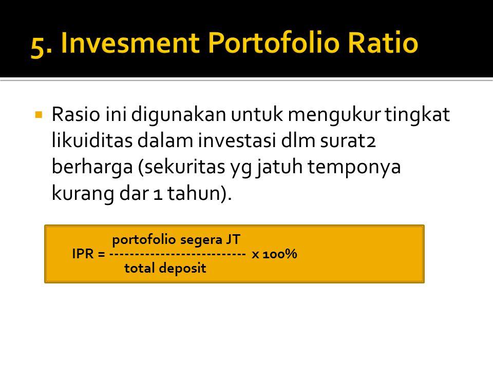  Rasio ini digunakan untuk mengukur tingkat likuiditas dalam investasi dlm surat2 berharga (sekuritas yg jatuh temponya kurang dar 1 tahun).  portof