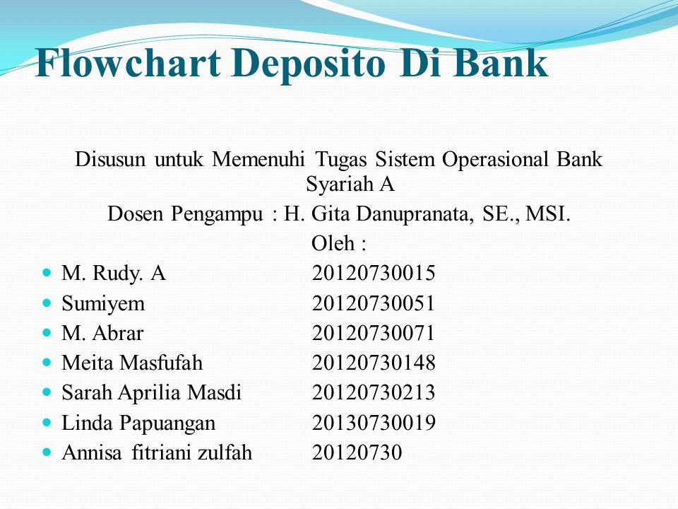 Flowchart Deposito Di Bank Disusun untuk Memenuhi Tugas Sistem Operasional Bank Syariah A Dosen Pengampu : H. Gita Danupranata, SE., MSI. Oleh : M. Ru