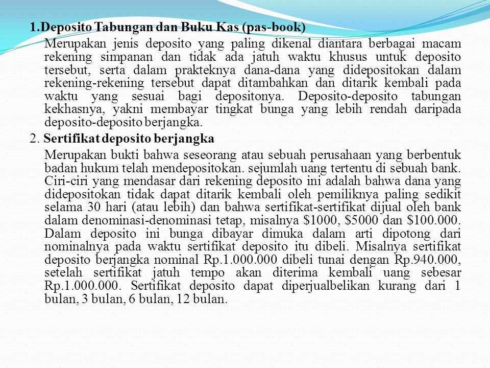 1.Deposito Tabungan dan Buku Kas (pas-book) Merupakan jenis deposito yang paling dikenal diantara berbagai macam rekening simpanan dan tidak ada jatuh