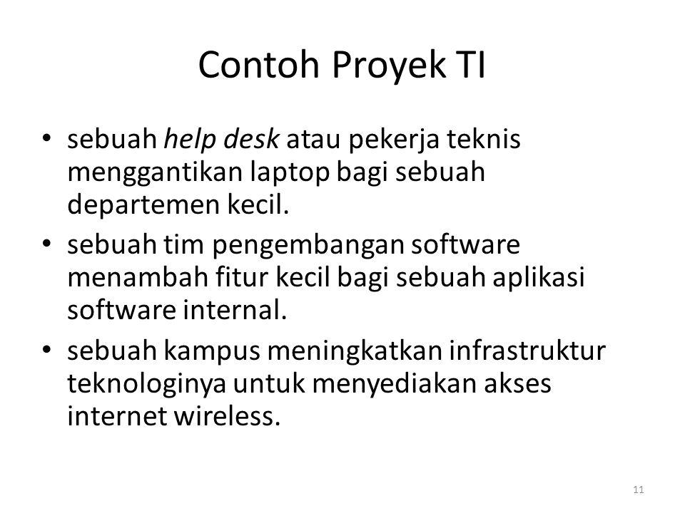 Contoh Proyek TI sebuah help desk atau pekerja teknis menggantikan laptop bagi sebuah departemen kecil.