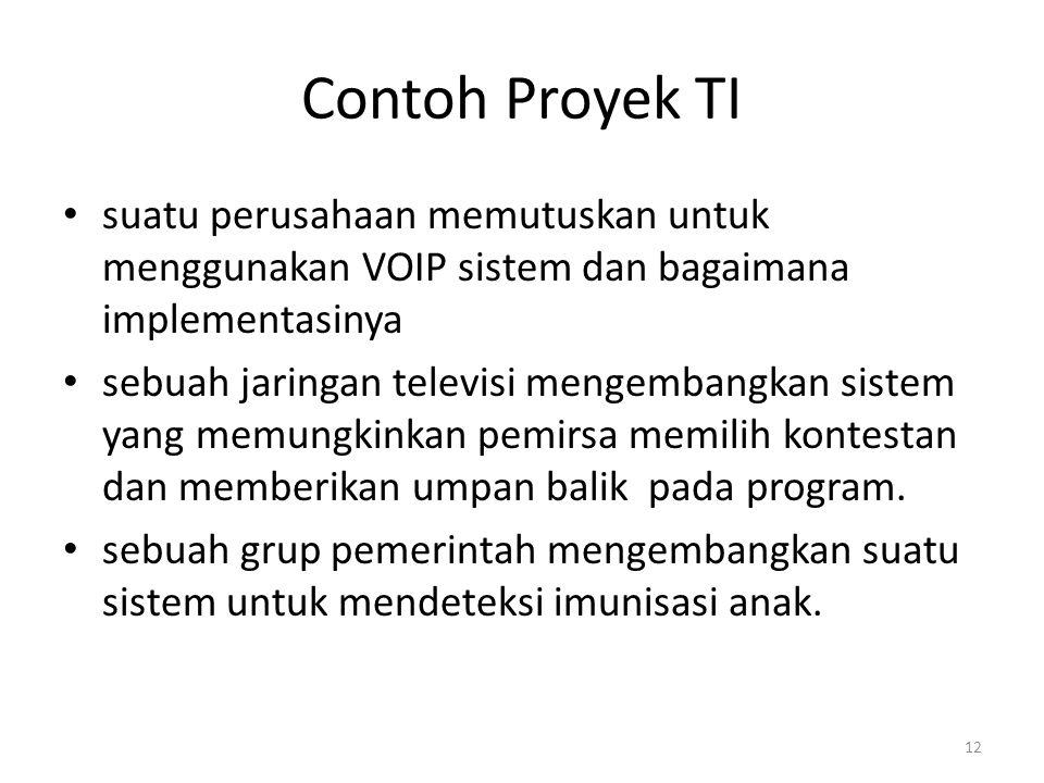 Contoh Proyek TI suatu perusahaan memutuskan untuk menggunakan VOIP sistem dan bagaimana implementasinya sebuah jaringan televisi mengembangkan sistem yang memungkinkan pemirsa memilih kontestan dan memberikan umpan balik pada program.