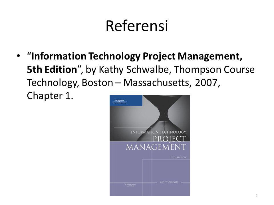 Learning Objectives mengerti kebutuhan yang meningkat atas manajemen proyek yang lebih baik, khususnya untuk proyek-proyek teknologi informasi.