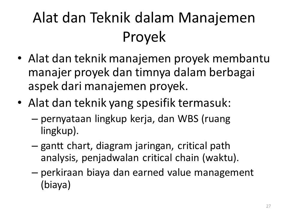 Alat dan Teknik dalam Manajemen Proyek Alat dan teknik manajemen proyek membantu manajer proyek dan timnya dalam berbagai aspek dari manajemen proyek.