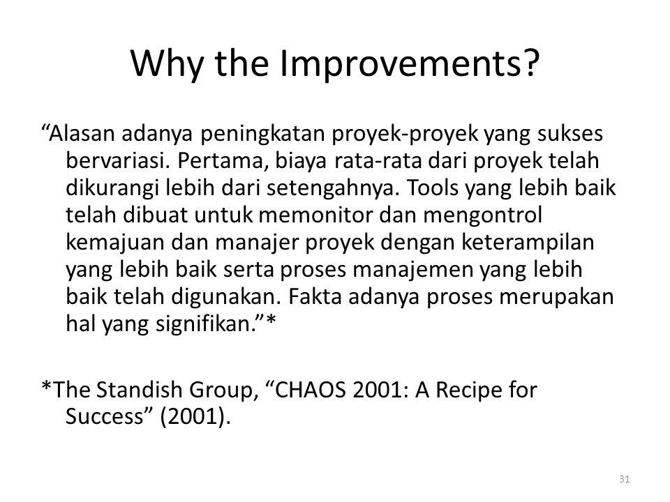 Why the Improvements. Alasan adanya peningkatan proyek-proyek yang sukses bervariasi.