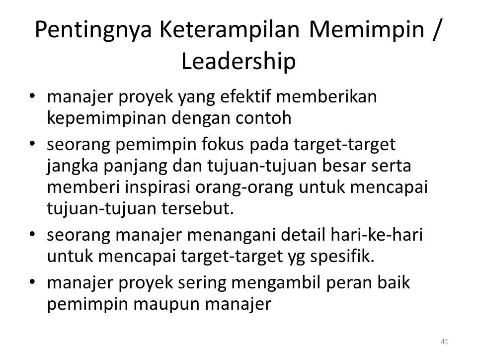 Pentingnya Keterampilan Memimpin / Leadership manajer proyek yang efektif memberikan kepemimpinan dengan contoh seorang pemimpin fokus pada target-target jangka panjang dan tujuan-tujuan besar serta memberi inspirasi orang-orang untuk mencapai tujuan-tujuan tersebut.