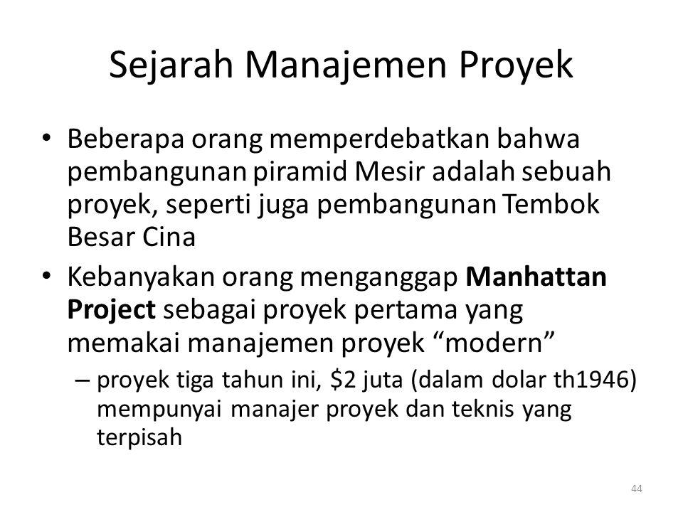 Sejarah Manajemen Proyek Beberapa orang memperdebatkan bahwa pembangunan piramid Mesir adalah sebuah proyek, seperti juga pembangunan Tembok Besar Cina Kebanyakan orang menganggap Manhattan Project sebagai proyek pertama yang memakai manajemen proyek modern – proyek tiga tahun ini, $2 juta (dalam dolar th1946) mempunyai manajer proyek dan teknis yang terpisah 44