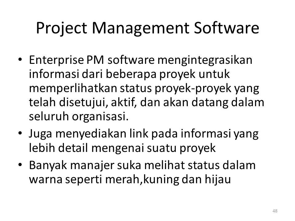 Project Management Software Enterprise PM software mengintegrasikan informasi dari beberapa proyek untuk memperlihatkan status proyek-proyek yang telah disetujui, aktif, dan akan datang dalam seluruh organisasi.