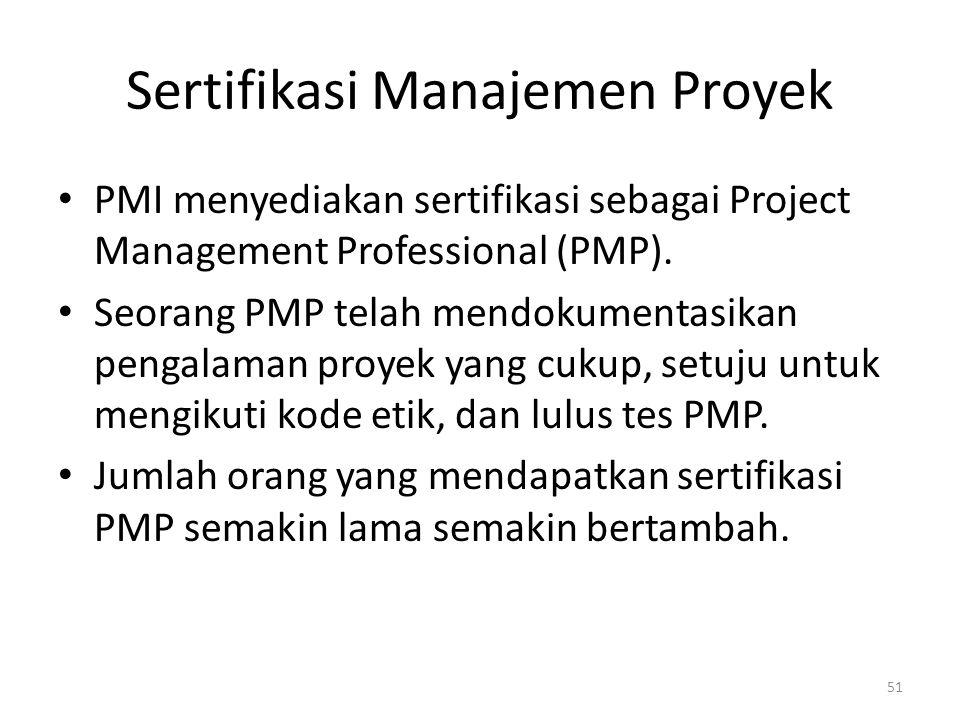 Sertifikasi Manajemen Proyek PMI menyediakan sertifikasi sebagai Project Management Professional (PMP).