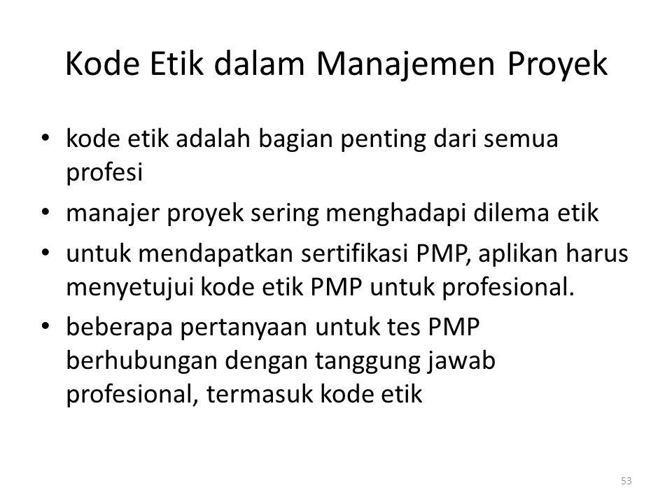 Kode Etik dalam Manajemen Proyek kode etik adalah bagian penting dari semua profesi manajer proyek sering menghadapi dilema etik untuk mendapatkan sertifikasi PMP, aplikan harus menyetujui kode etik PMP untuk profesional.