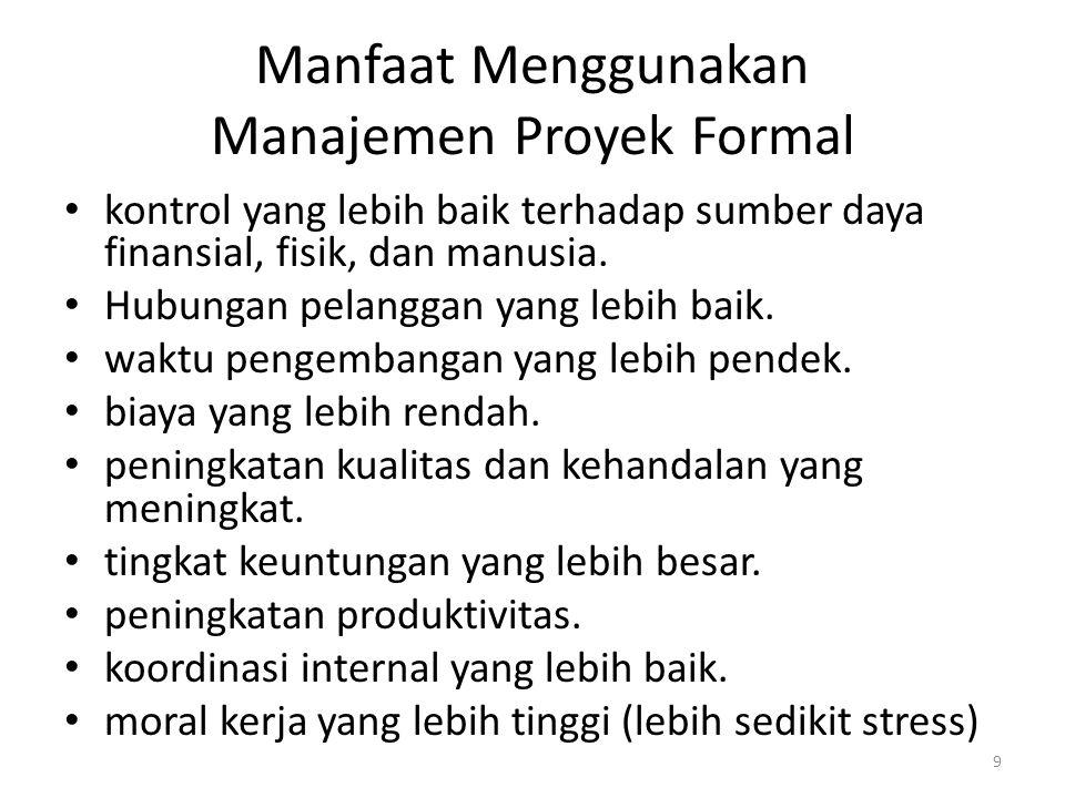 Manfaat Menggunakan Manajemen Proyek Formal kontrol yang lebih baik terhadap sumber daya finansial, fisik, dan manusia.