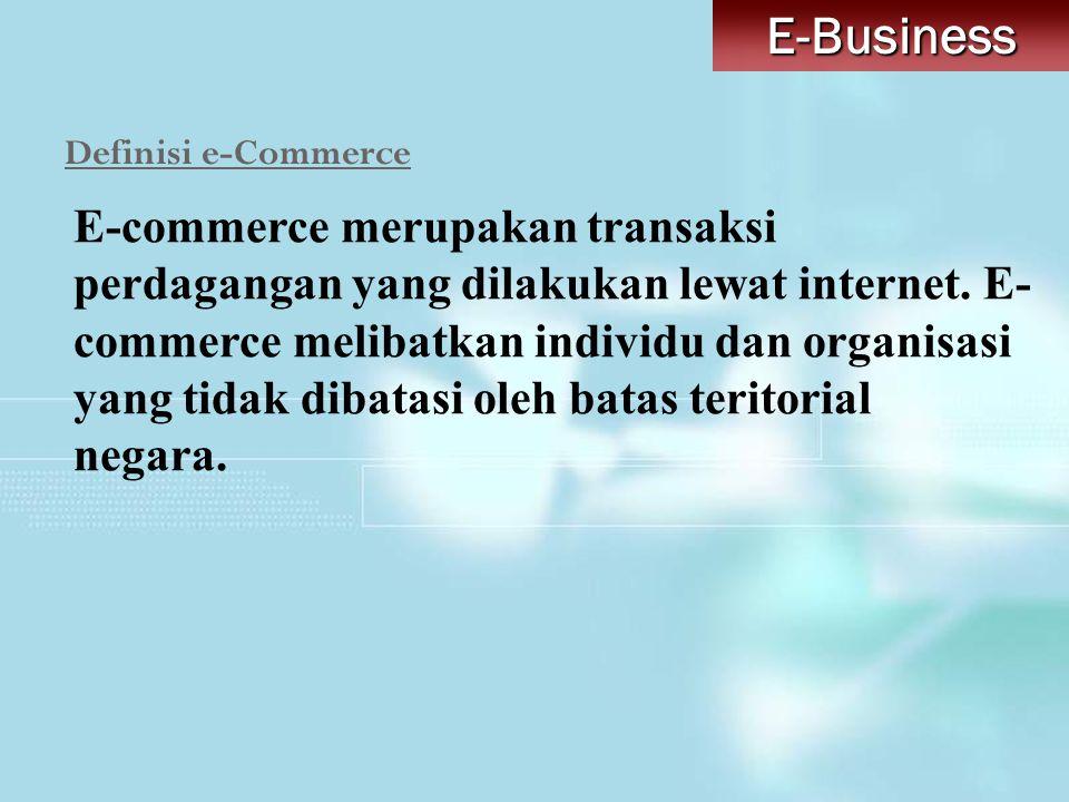 Definisi e-Commerce E-commerce merupakan transaksi perdagangan yang dilakukan lewat internet. E- commerce melibatkan individu dan organisasi yang tida