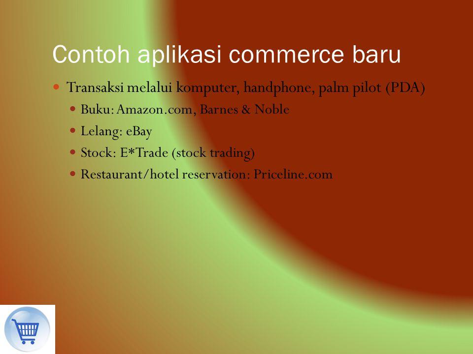 Contoh aplikasi commerce baru Transaksi melalui komputer, handphone, palm pilot (PDA) Buku: Amazon.com, Barnes & Noble Lelang: eBay Stock: E*Trade (st