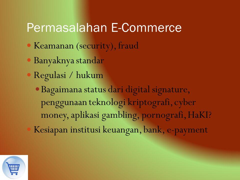 Permasalahan E-Commerce Keamanan (security), fraud Banyaknya standar Regulasi / hukum Bagaimana status dari digital signature, penggunaan teknologi kr