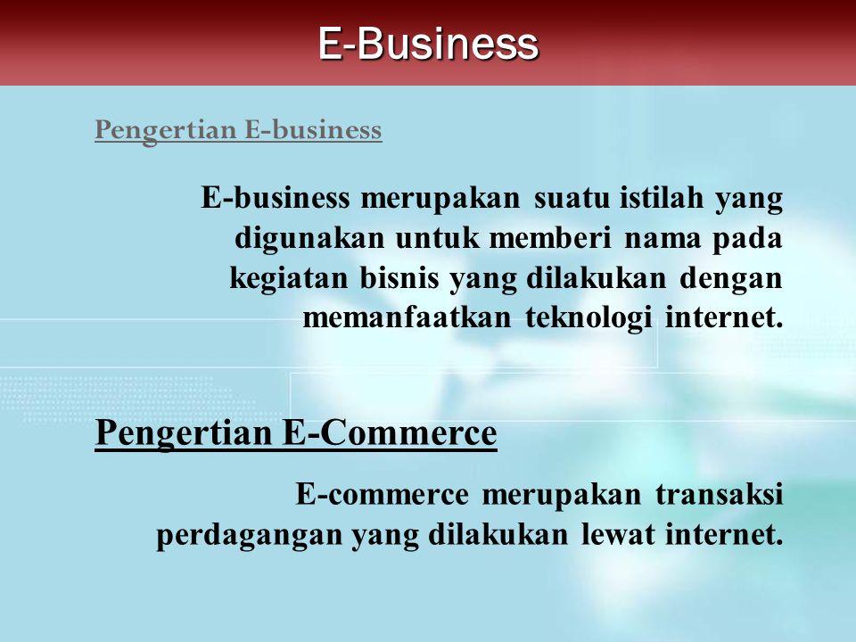 Pengertian E-businessE-Business E-business merupakan suatu istilah yang digunakan untuk memberi nama pada kegiatan bisnis yang dilakukan dengan memanf